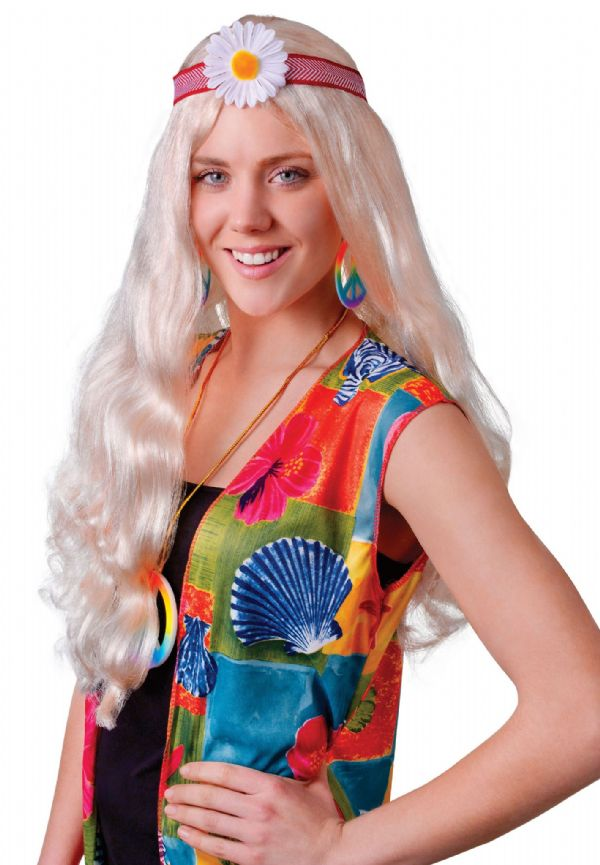 Ladies Hippy Lady Blonde/Flower Wig Hippie 60s 70s Fancy Dress